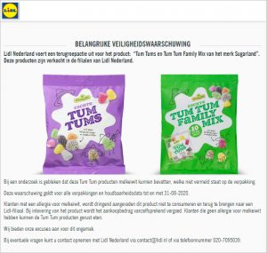 Advertentie allergiewaarschuwing Sugarland Tum Tums en Sugarland Tum Tum Family Mix (Lidl)