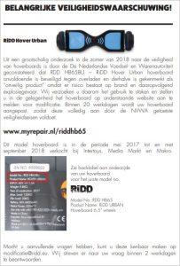 Advertentie veiligheidswaarschuwing RiDD Hover Urban hoverboard
