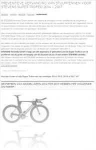 Advertentie terugroepactie stuurpennen Stevens Bikes Super Trofeo 2014 - 2017