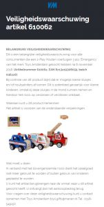 Terugroepactie houten auto's Emergency Toys Amsterdam