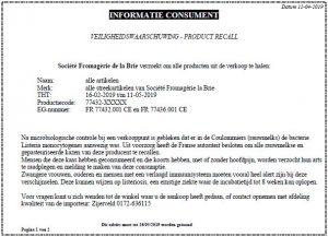 Advertentie terugroepactie kazen Société Fromagèrie de la Brie