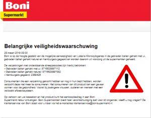 Advertentie terugroepactie gebraden gehaktballen en gegaarde hamburgers Boni