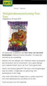 Advertentie allergiewaarschuwing Smikkelbeer Tum Tum EMTÉ