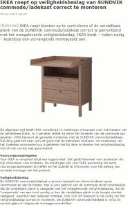 Advertentie veiligheidswaarschuwing IKEA SUNDVIK commode