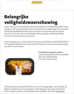 Advertentie allergiewaarschuwing Jumbo Foodmarkt Indonesische Rijsttafel