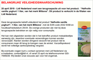 Advertentieterugroepactie Lidl Milbona Halfvolle Vanille Yoghurt