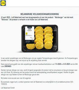 Advertentie allergiewaarschuwing Lidl Maisburgers