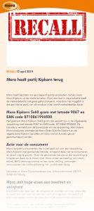 Advertentie terugroepactie Mora Kipkorn