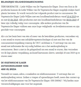 Advertentie terugroepactie Little Willies De Vegetarische Slager