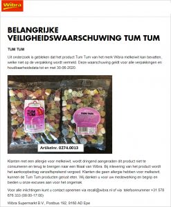 Advertentie allergiewaarschuwing Wibra Tum Tum