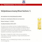 Advertentie terugroepactie ALDI Milsani Vanillevla
