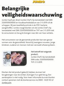 Advertentie terugroepactie Jumbo Chef's Tip Lamskoteletten