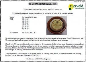 Advertentie terugroepactie Saint Marcellin franse kaas