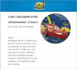 Advertentie terugroepactie melamine bordje Cars (ToyChamp)