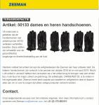Advertentie terugroepactie dames- en herenhandschoenen Zeeman