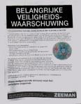 Advertentie terugroepactie melamine bordjes Ojo Walli (Zeeman)