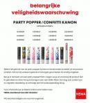 Advertentie terugroepactie HEMA confetti kanon