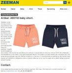 Advertentie terugroepactie baby shorts Zeeman