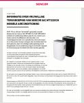 Advertentie terugroepactie Sencor airconditioning