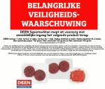 Advertentie terugroepactie DEEN Duitse biefstuk, tartaar en filet americain (augustus 2019)