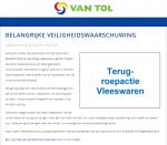 Advertentie terugroepactie vleeswaren Versuniek, Meesterhand & Fairbeleg (Versunie)