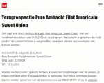 Advertentie terugroepactie Pure Ambacht filet americain sweet onion Dirk