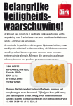 Advertentie allergenenwaarschuwing Dirk 1deBeste Kipkaasschnitzel