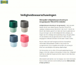Advertentie terugroepactie IKEA reisbekers TROLIGTVIS
