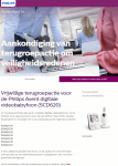 Advertentie terugroepactie Philips Avent digitale videobabyfoon