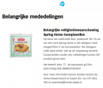 Advertentie allergenenwaarschuwing TYJ Spring Home loempiavellen (Albert Heijn)