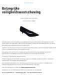 Advertentie terugroepactie Zwarte Damesschoenen Primark