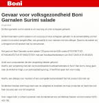 Advertentie allergenenwaarschuwing Boni Garnalen Surimi Salade