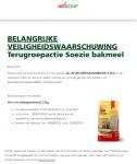 Advertentie terugroepactie Soezie Broodbakmix Meergranenbrood (Welkoop)