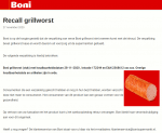 Advertentie terugroepactie Boni grillworst