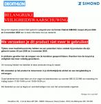 Advertentie terugroepactie Decathlon Simond lanyard via ferrata Vitalink