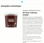 Advertentie allergenenwaarschuwing Albert Heijn AH Verse Woksaus Teriyaki