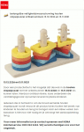 Advertentie terugroepactie houten stapelpuzzel HEMA