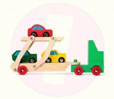 Terugroepactie houten speelgoed auto-oplegger Flying Tiger Copenhagen