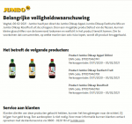 Advertentie terugroepactie Jumbo Diksap