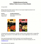 Advertentie terugroepactie Beltane Chana Masala en Thaise Curry