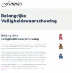 Advertentie terugroepactie Funnies knuffels Aap, Beer en Leeuw