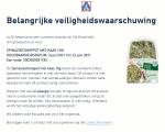 Advertentie allergenenwaarschuwing ALDI Spinaziestamppot met Kaas