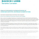 Advertentie terugroepactie Bausch + Lomb producten